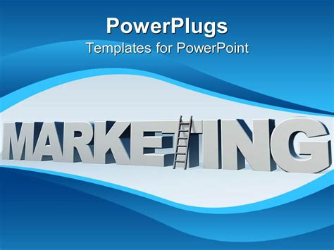 Powerpoint Template 3d Gray Marketing Word With A Ladder Marketing Powerpoint Templates Free