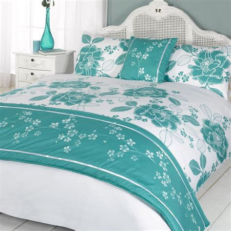 double bed coverlet duvet quilt bedding bed in a bag teal single double king