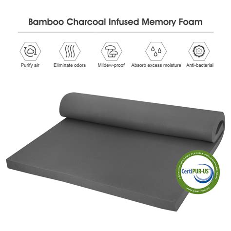 2 In Memory Foam Mattress Topper by 2 Quot Inch Bamboo Charcoal Memory Foam