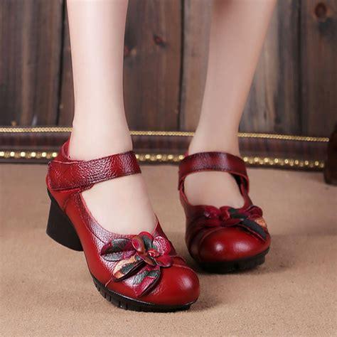 Sandal Kelsey 6899 8a Ori leather folkways mid heel hook loop original retro soft shoes newchic