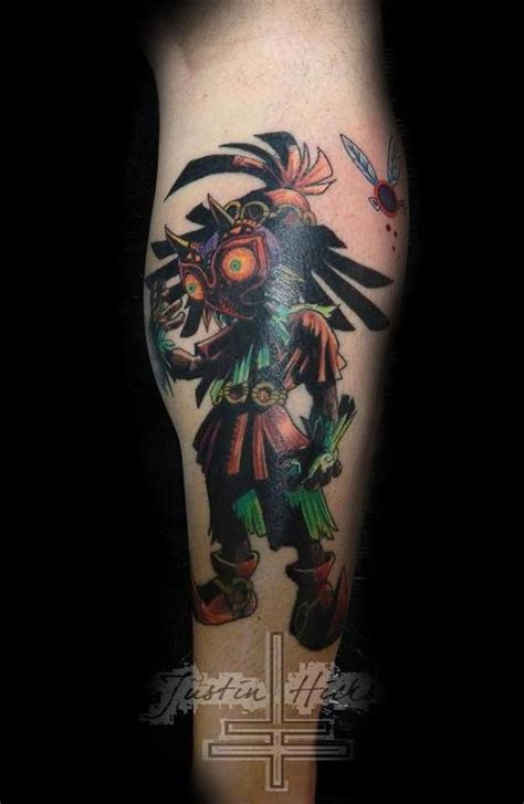 old school zelda tattoo skull kid form the video game zelda by justin hicks tattoos