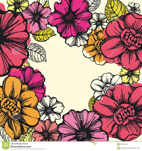 colorful flowers graphic frame royalty free stock images