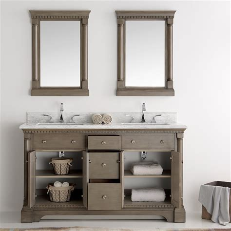 Silver Bathroom Vanity Fresca Kingston 60 Quot Antique Silver Sink Traditional Bathroom Vanity W Mirrors
