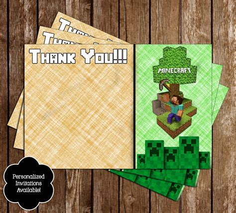 minecraft printable thank you cards novel concept designs free minecraft inspired birthday