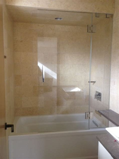 How To Install Shower Door On Tub Frameless Shower Door With Splash Panel For Tub Contemporary Shower Doors New York By