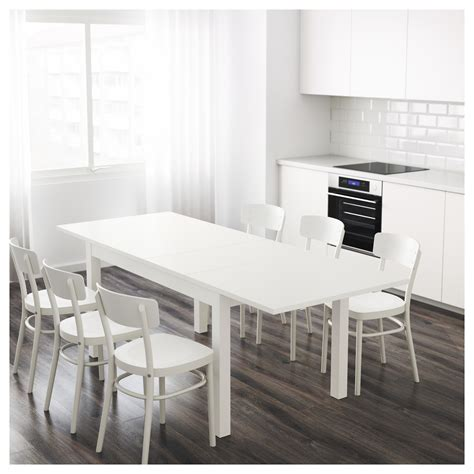 White Extendable Dining Table by Bjursta Extendable Table White 140 180 220x84 Cm