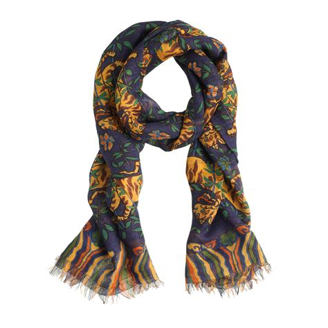 s tiger scarf in blue for lyst