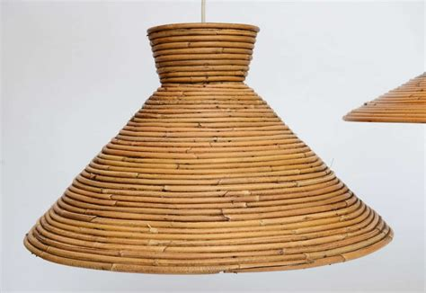 Rattan Pendant Lighting Large Scale Rattan Pendant Light Flare Top At 1stdibs