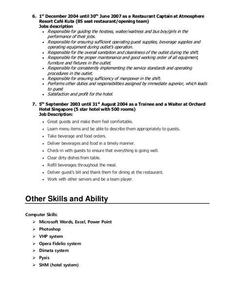 waiter description resume resume ideas