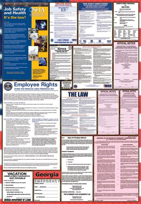 printable federal labor laws poster pin printable employee vacation planner template