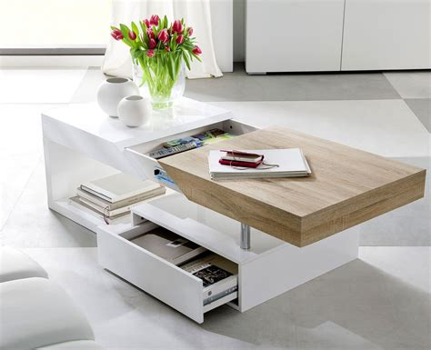 Modern Coffee Tables Storage Moda High Gloss Designer Wood Contemporary Modern Coffee Table Storage