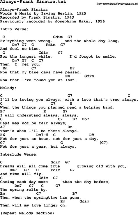 lyrics frank sinatra jazz song always frank sinatra with chords tabs and