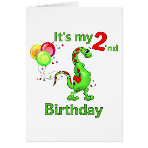 printable birthday cards dinosaur free second birthday dinosaur greeting card zazzle
