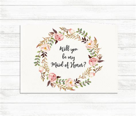will you be my flower card template will you be my of honor floral printable of honor