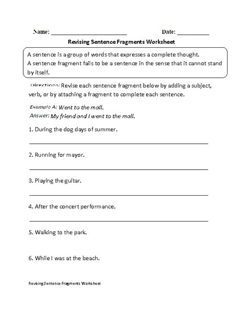 Sentence Fragments Worksheets by 15 Best Images Of Fragment Practice Worksheet Fragment