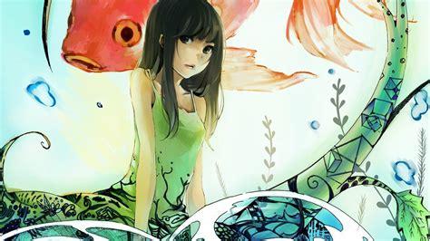 anime fish girl anime girl and koi fish 4k wallpaper