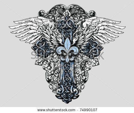 fleur de lis cross tattoo fleur de lis cross with wings by tairy greene future