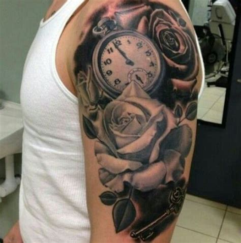 tattoo arm vrouw sleeve picture of clock with rose tattoo