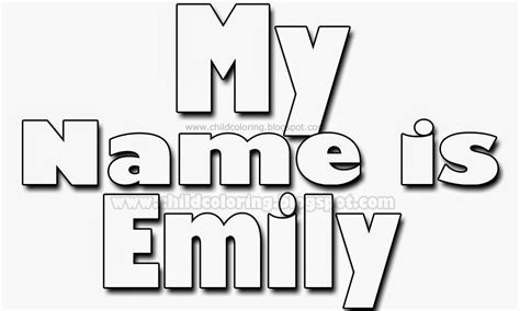 coloring pages with the name emily emily free coloring pages