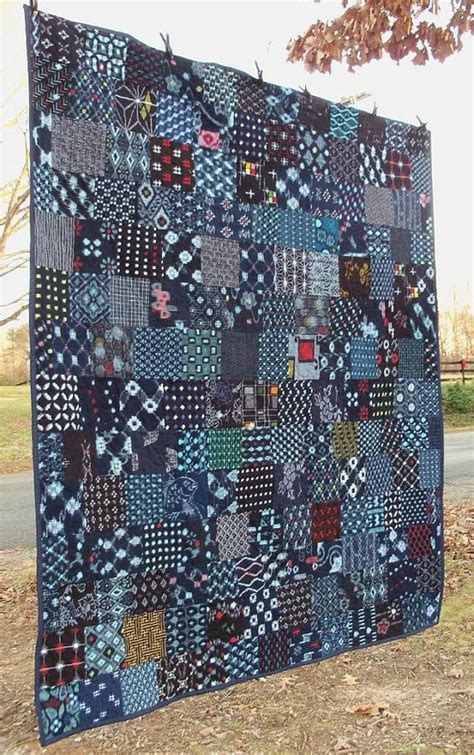 Japanese Patchwork Fabric - indigo quilt japanese kasuri boro cotton patchwork