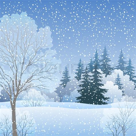 winter tree from snowflakes by the vector colourbox winter woodland landscape forest with fir and deciduous trees and snow eps10