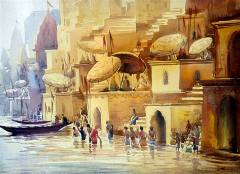 painting free play buy painting varanasi ghat at morning artwork no 7428 by