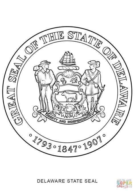 Search Delaware Jurisdiction Delaware State Seal Coloring Page Free Printable Coloring Pages