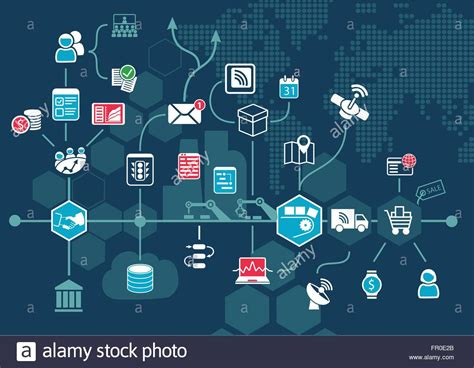 of things iot and digital of things iot and digital business process automation stock vector illustration