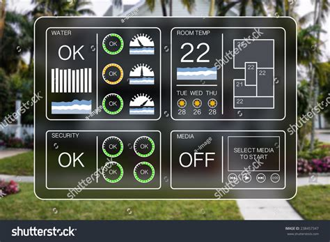 flat design illustration home automation dashboard stock