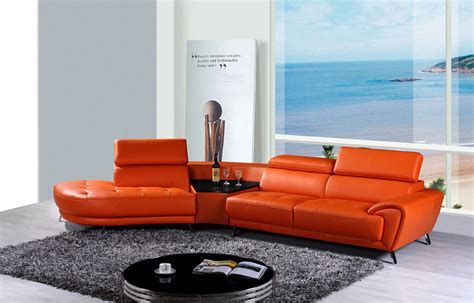 modern leather sectional with chaise divani casa raizel modern orange leather sectional sofa w