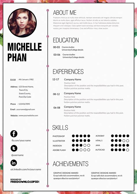 attractive resume templates designer cv template free psd freedownloadpsd