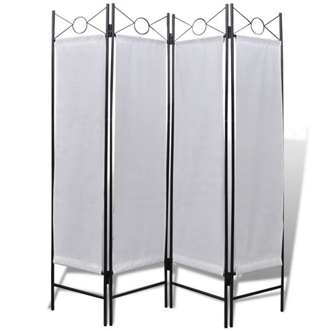 Folding Screen Room Divider 4 Panel Room Divider Privacy Folding Screen White 5 3 Quot X 5 11 Quot Vidaxl