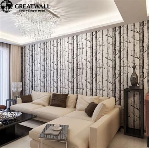 wall borders for living room great wall birch tree woods wallpaper roll modern