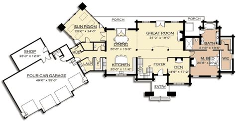 mountain lodge floor plans mountain lodge with sun room 18704ck architectural