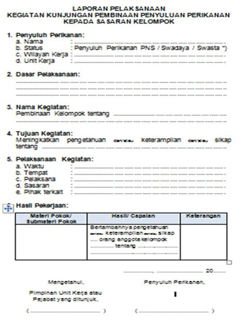 format laporan unit hem komunitas penyuluh perikanan contoh format laporan