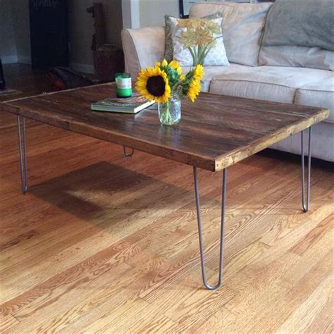 diy wood coffee table legs diy pallet coffee table with metal hairpin legs 101 pallets