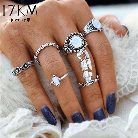 8 Retro Inspired Accessories by 17km Fashion Bohemia Vintage Opal Rings Set Ethnic Carving