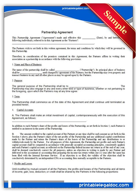 partnership agreement template free free printable partnership agreement form generic