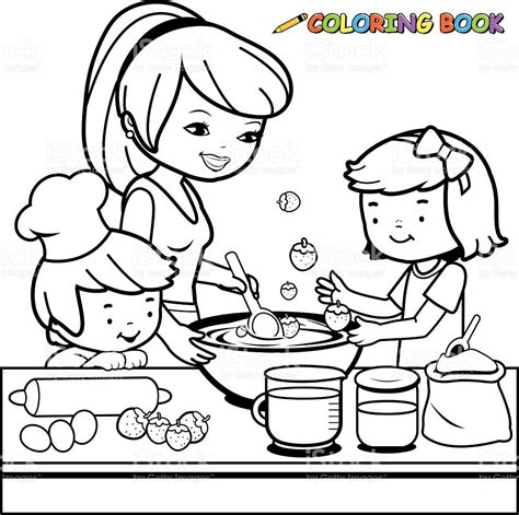 toy kitchen coloring page mother and children cooking in the kitchen coloring book