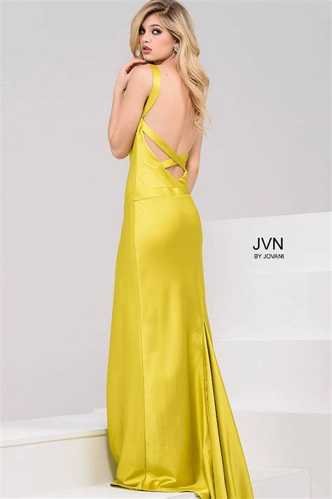 Yellow Silk Dress 31033 yellow silk satin strapless prom dress with open back and and v neckline