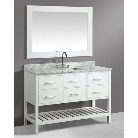 white bathroom vanity with carrera marble top london 54 quot single sink vanity set in white with white