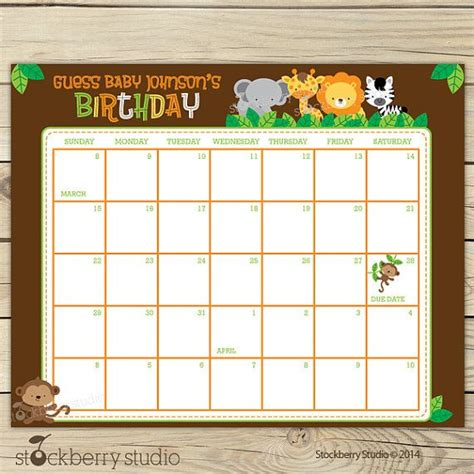 baby shower calendar template safari guess the due date calendar printable birthday