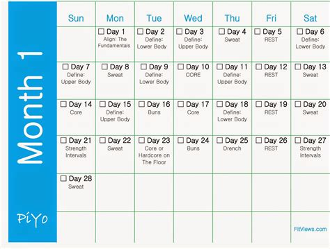 When Calendar Started Fitviews Getting Started With Piyo Free Printable Piyo