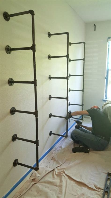 diy industrial pipe shelves step by step tutorial on
