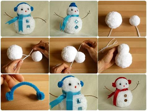 wonderful diy cute mini pom pom snowmen