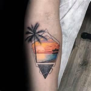 40 small beach tattoos for men seashore design ideas