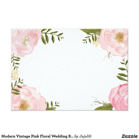 Floral Card Template by Modern Vintage Pink Floral Wedding Blank Card Floral