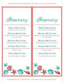 Wedding Itinerary Template by Wedding Itinerary Template Wedding Planner Coral