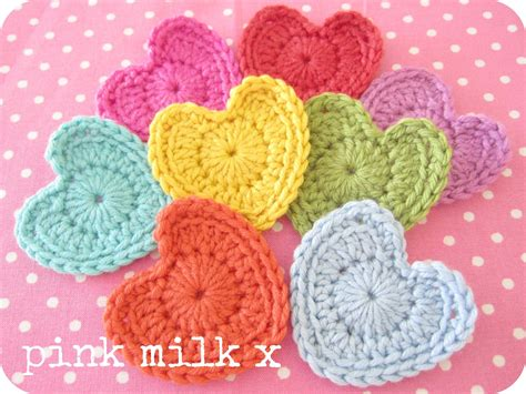 crochet hearts pink milk the crochet x