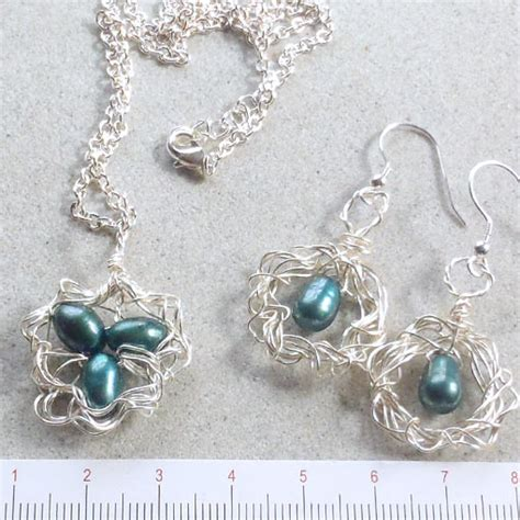 Australian Handmade Jewelry - bird s nest silver and pearl pendant and earrings set